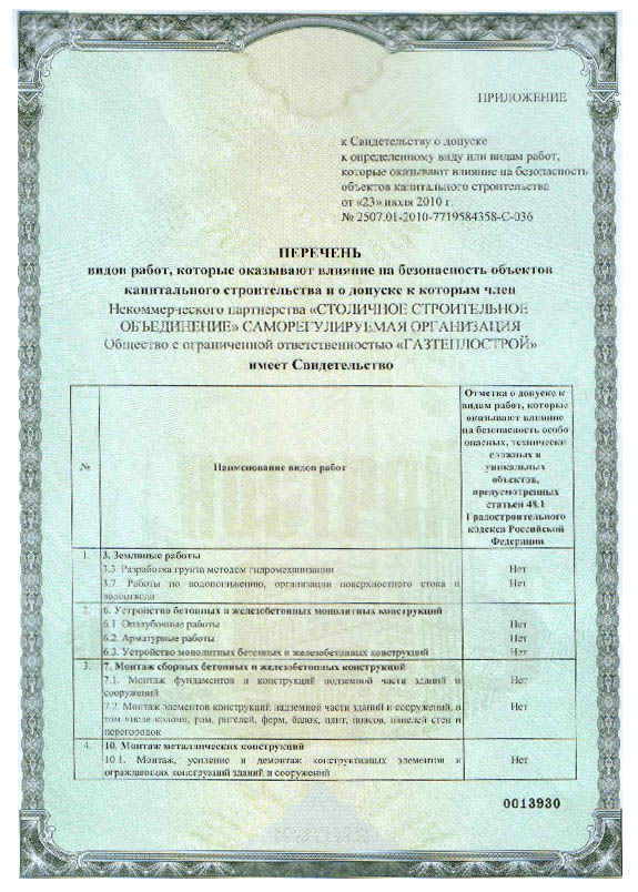 Лицензия ООО ГАЗТЕПЛОСТРОЙ